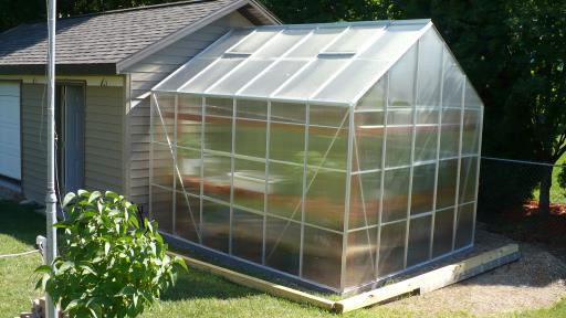 completed Harbor Freight 10x12 Greenhouse project