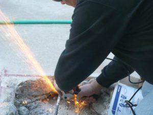 cutting rebar with a die grinder