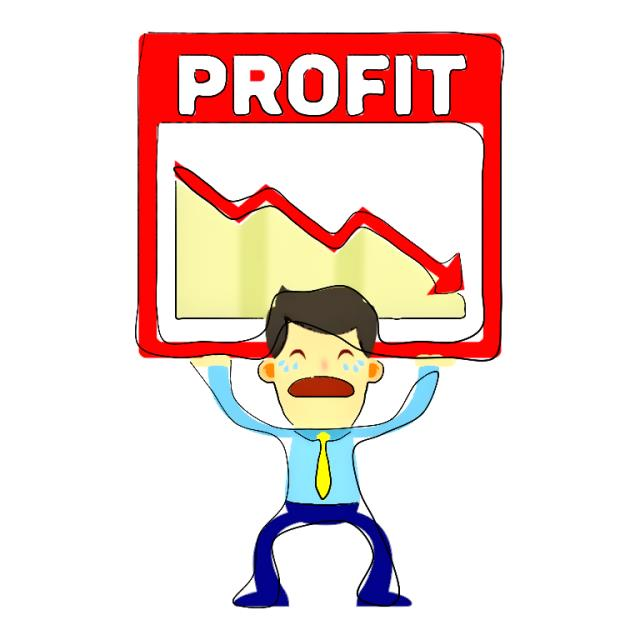 man holding up profit loss chart