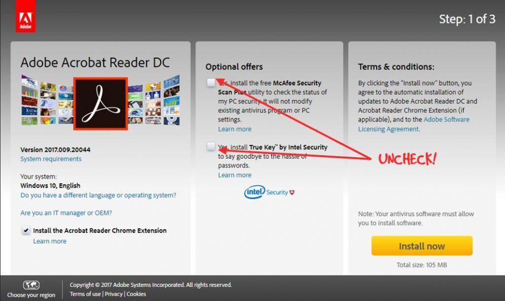 adobe reader download settings panel