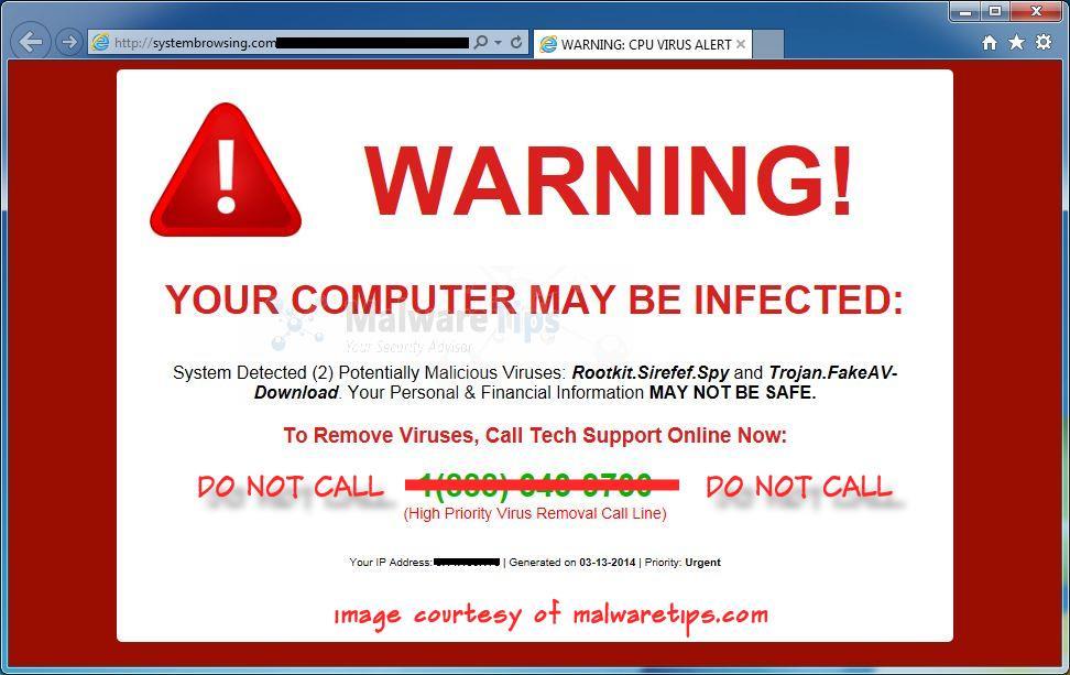 fake malware notice