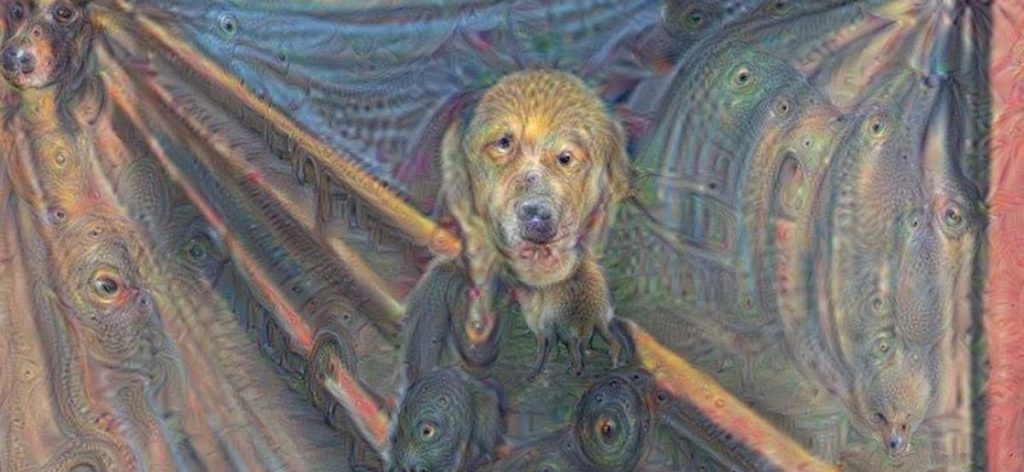 dog face superimposed on the painting The Scream by Edvard Munch by using AI trained to search for dogs