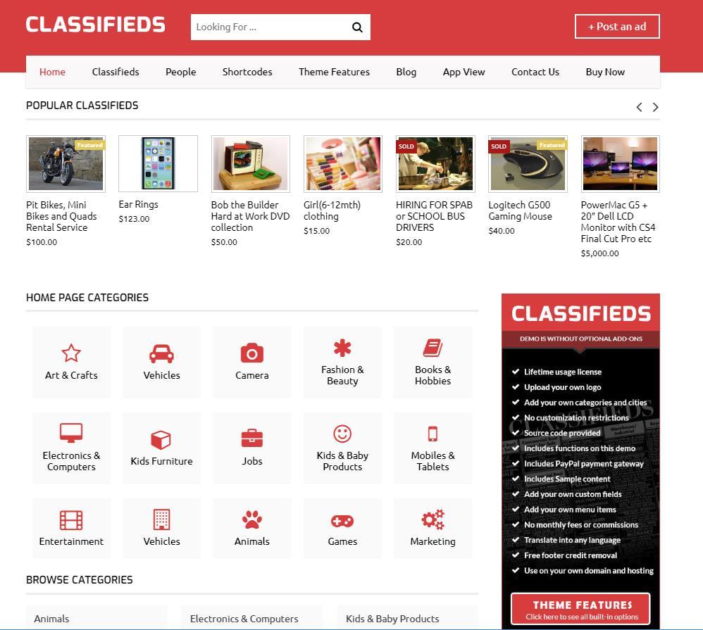 classified ads theme demo